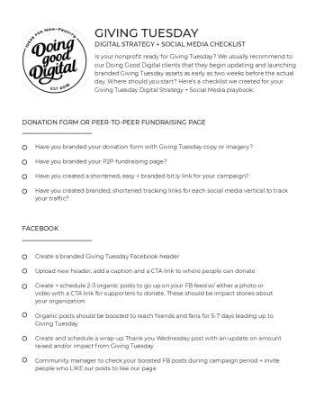 image of GivingTuesday Digital Strategy and Social Media Checklist checklist