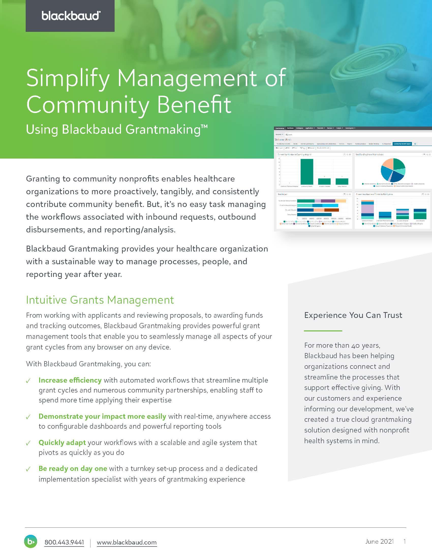 Simplify Management of Community Benefit