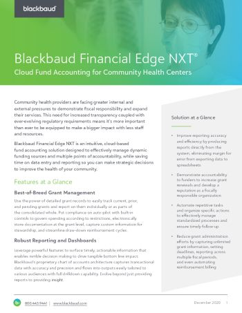 Image of Blackbaud Financial Edge NXT for Community Health Providers