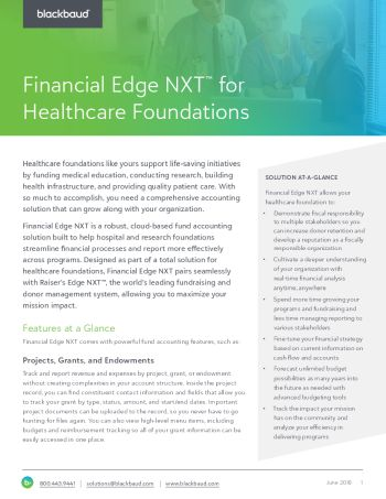 Image of Blackbaud Financial Edge NXT for Healthcare Foundations datasheet