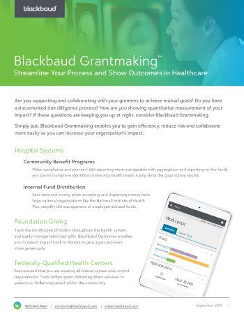 image of datasheet Blackbaud Grantmaking for Healthcare Organizations