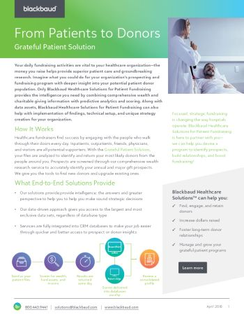 Cover image for the Grateful Patient Solution datasheet
