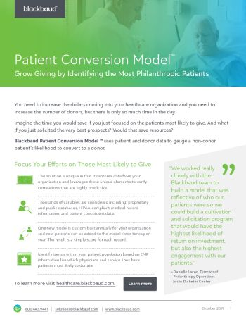 Image of the Patient Conversion Model datasheet