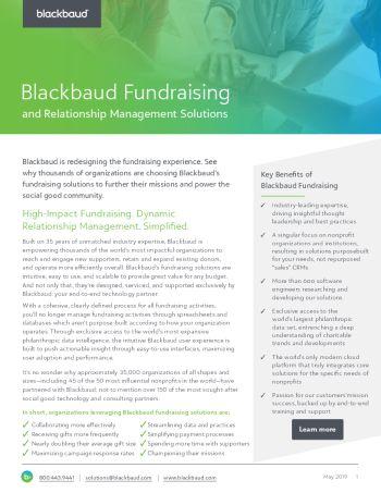 image of Blackbaud Fundraising datasheet