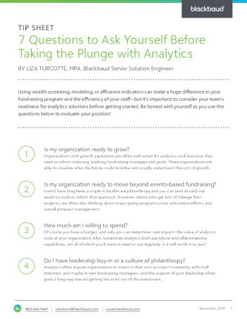 Image of the Seven Questions to Ask Yourself Before Taking the Plunge with Analytics tip sheet