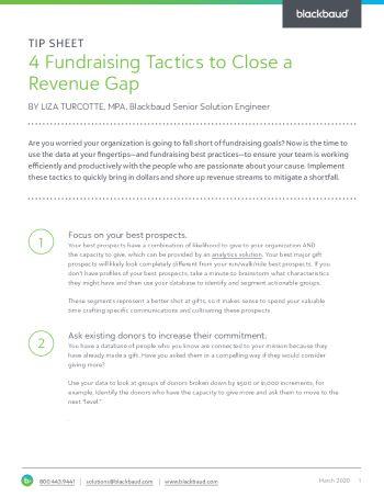Image of Four Fundraising Tactics to Close a Revenue Gap tip sheet