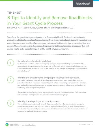 Image of the Eight Tips to Identify and Remove Roadblocks in Your Grant Cycle Process tipsheet