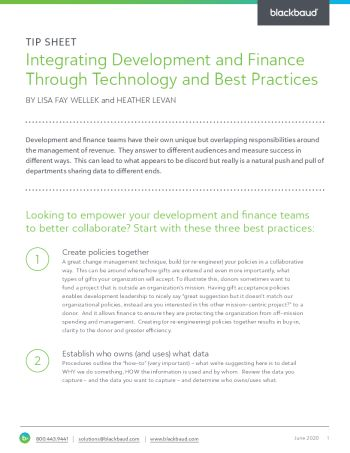 Image for Integrating Development and Finance Through Technology and Best Practices tipsheet