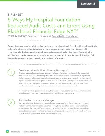 Cover image of tip sheet for Five Ways My Hospital Foundation Reduced Audit Costs and Errors Using Blackbaud Financial Edge NXT