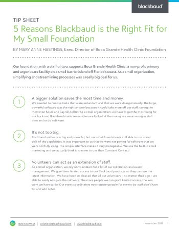 image of Five Reasons Blackbaud is the Right Fit for my Small Foundation tip sheet