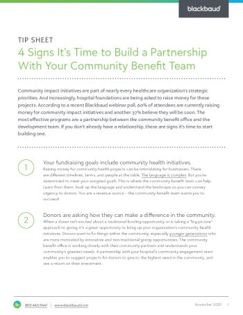 image of Four Signs It's Time to Build a Partnership with Your Community Benefit Team tpsheet