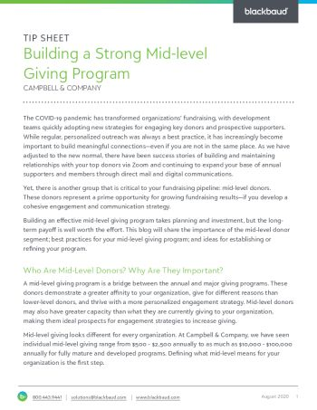 image of Building a Strong Mid-Level Giving Program tipsheet