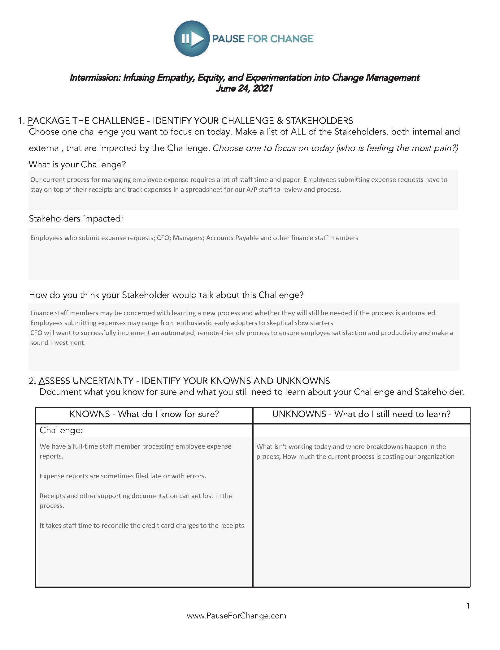 Change Management Worksheet Image