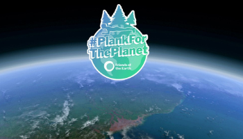 Globe with green and blue Plank for the Planet logo